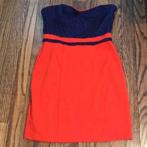 Orange and blue strapless dress